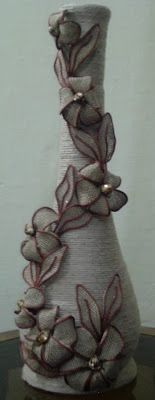 Pot with jute thread and flower arrangement     Tutorial Link