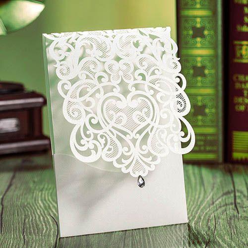 exquisite laser cut white pocket wedding invitations