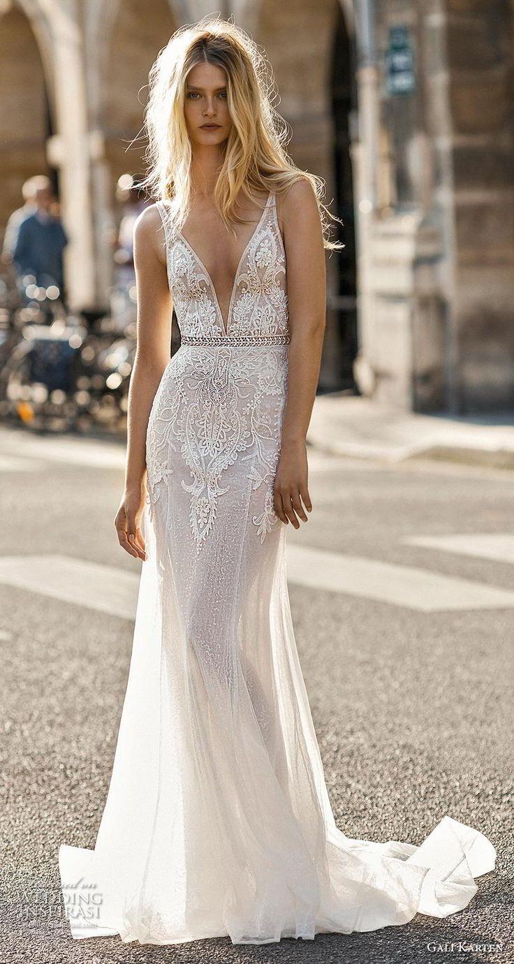 f348e31fe42c7 gali karten 2019 bridal sleeveless deep v neck heavily embellished bodice  sexy romantic modified a line wedding dress backless scoop back medium  train (8) ...
