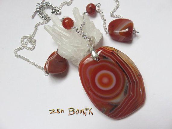 Collier Agate Sardonyx Orange strié Pendentif et par ZenBoutik