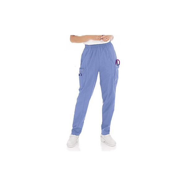 Landau Women's Classic Fit Cargo Elastic Waist Scrub Pants (200 SEK) ❤ liked on Polyvore featuring pants, classic fit pants, long pants, stitch pants, long trousers and blue trousers