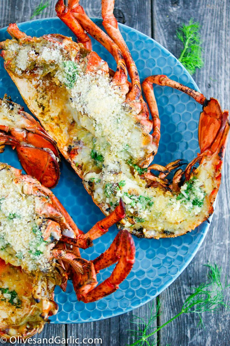 Grilled Lobster with Garlic Herb Butter