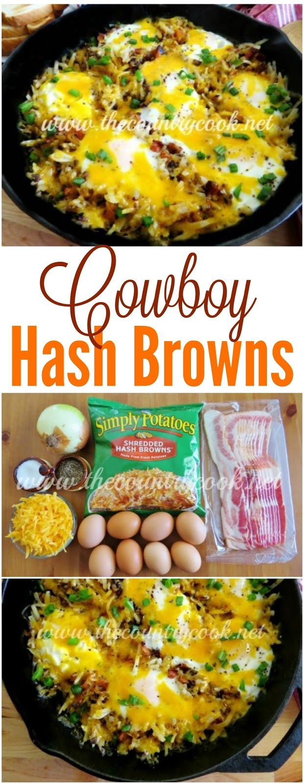 Cowboy Hashbrown Skillet recipe from The Country Cook. Eggs, bacon, cheese, hash…