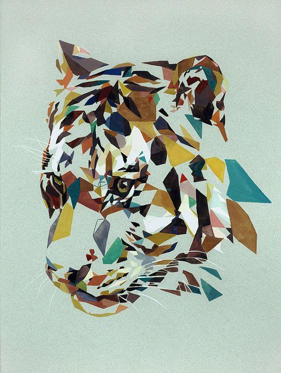Geometric tiger head by drawRicodraw on Etsy