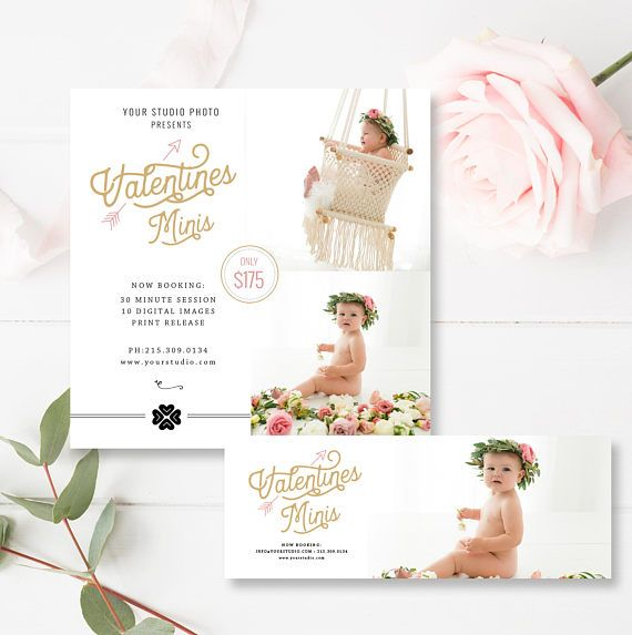 5x5 Valentine's Mini Session Marketing Board + FREE matching Facebook Timeline, Valentines Minis, Photoshop Template, INSTANT DOWNLOAD