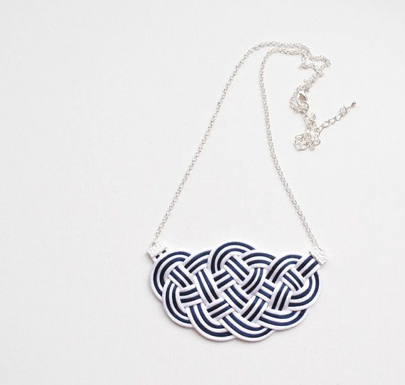 Knot necklace white and navy necklace nautical by elfinadesign