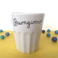 Bicchiere da osteria in ceramica bianca con scritta motivazionale buongiorno  - nigutindor -