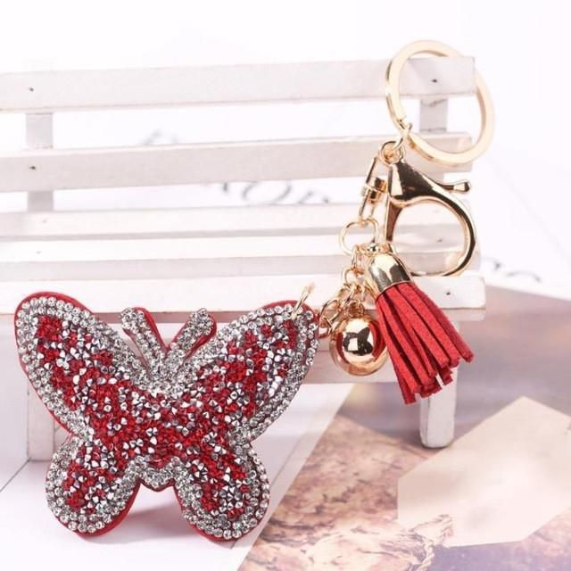 Butterfly Rhinestone Tassel Keychain Bag Handbag Key Ring Car Key Pendant
