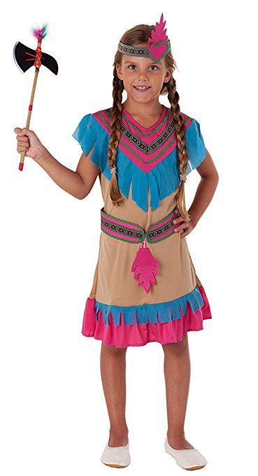 Indianer Prinzessin Komplettes Indianer Kostum Madchen Beige Blau