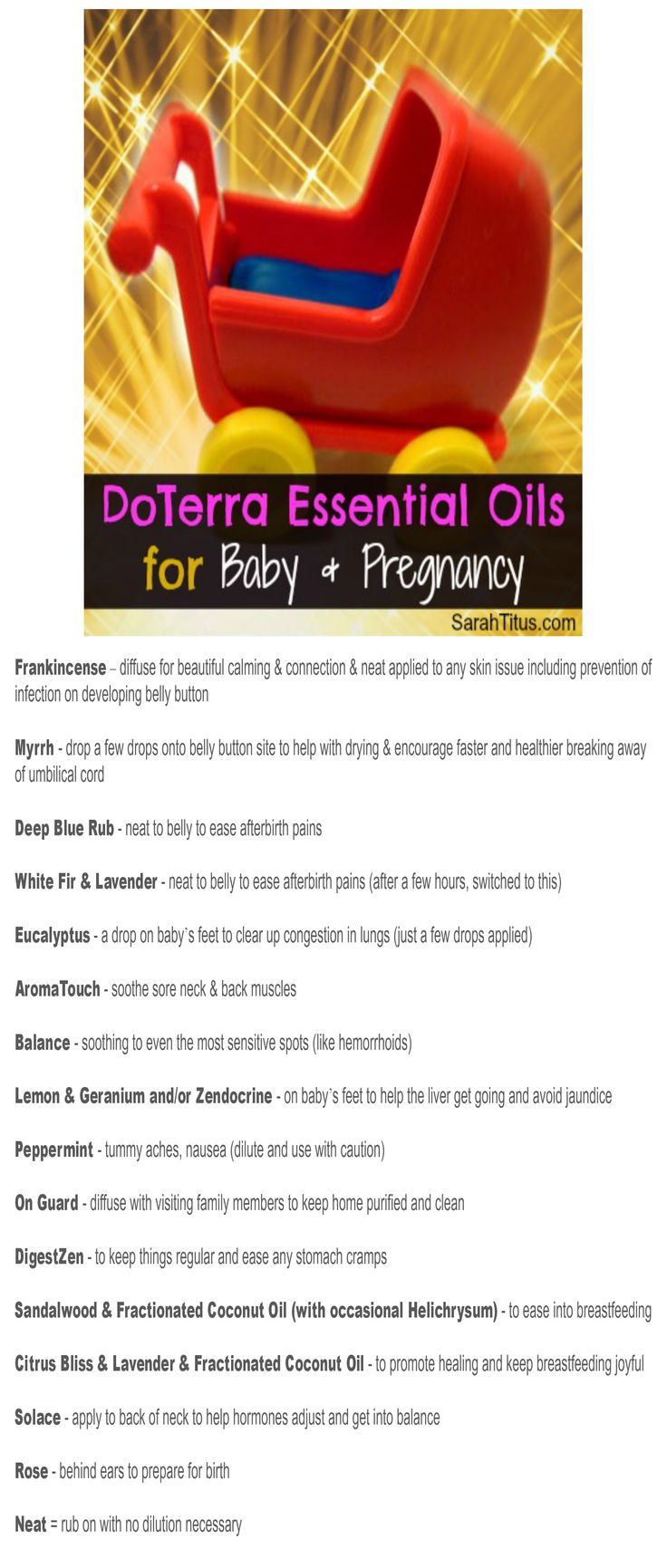 """Free Printable """"DoTerra Essential Oils for Baby & Pregnancy"""" Bookmark"""