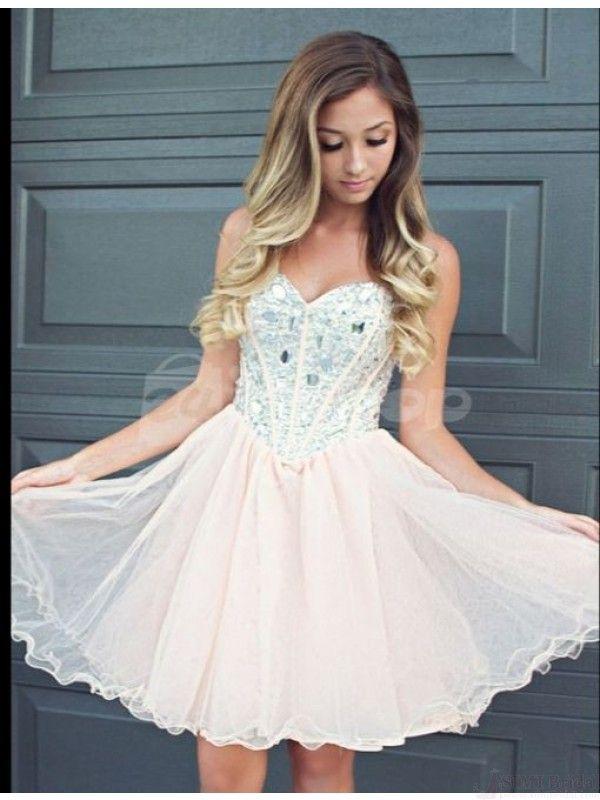 Beaded Bodice Chiffon Short Prom Dresses Homecoming Dresses  #SIMIBridal #homecomingdresses