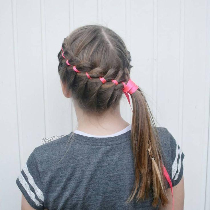 Braids & Hair by @terttiina Instagram: Four strand ribbon braid and french braid into a ponytail for gymnastics!