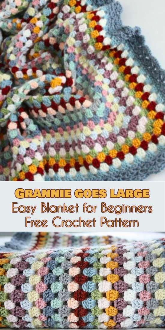 Huge Crochet Grannie Goes - Free Pattern Easy Granny Blanket for Beginners.