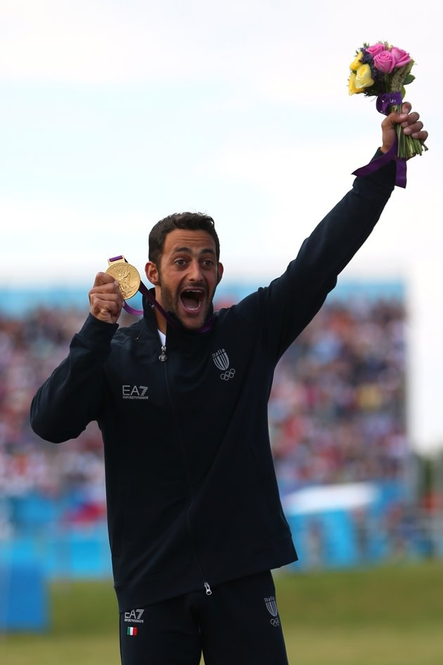 AUGUST 01: Daniele Molmenti of Italy celebrates winning the gold medal in the Men's Kayak Single (K1) Final on Day 5 of the London 2012 Olympic Games at Lee Valley White Water Centre on August 1, 2012 in London, England. (Photo by Phil Walter/Getty Images)