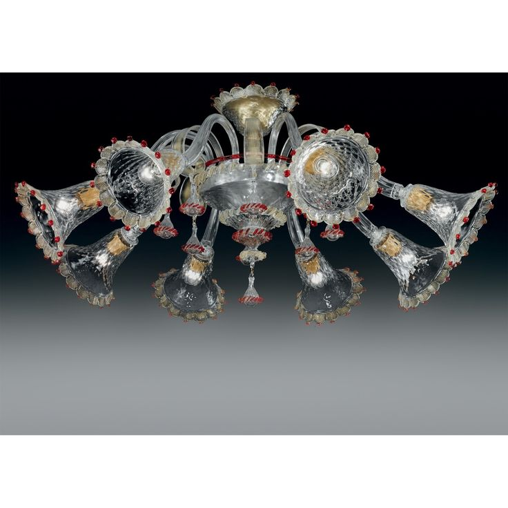 Genuine artistic hand and blown glass Ceiling lamp from the Murano Maestroes Vetrilamp.