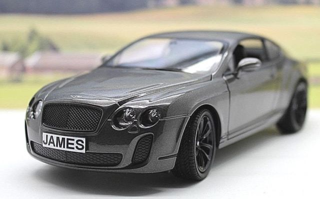 PERSONALISED PLATES GIFT 1/24 Grey BENTLEY CONTINENTAL Boys Toy/Model