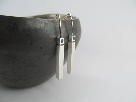 Minimalist Contemporary Silver and Resin Dangle Earrings