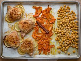 North African Chicken and Chickpeas : Rub chicken thighs with berbere (an African spice mix), chili powder and cumin powder. Pair with canned chickpeas tossed with olive oil, and carrots seasoned with za'atar and a cinnamon stick.