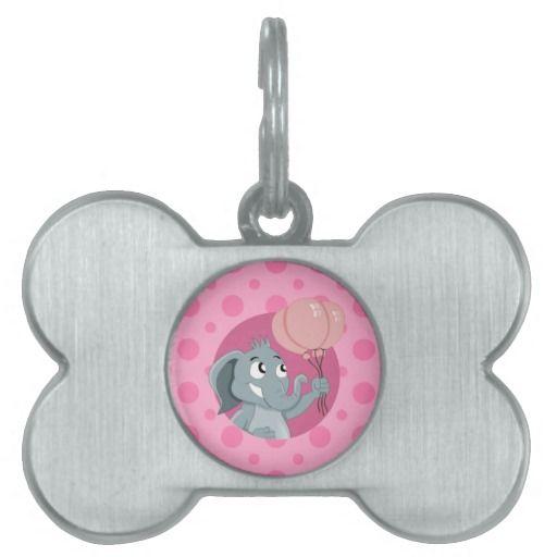 Elephant cartoon pet name tag
