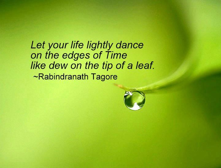 Let your life lightly dance on the edges of Time lie dew in the tip of a leaf ~Rabindranath Tagore