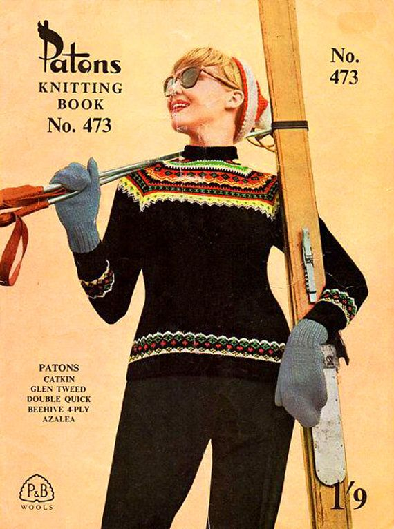 PDF Vintage 1950s Womens Ladies Ski Sweater Knitting Pattern P