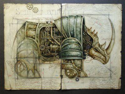 Rinoceronte steampunk