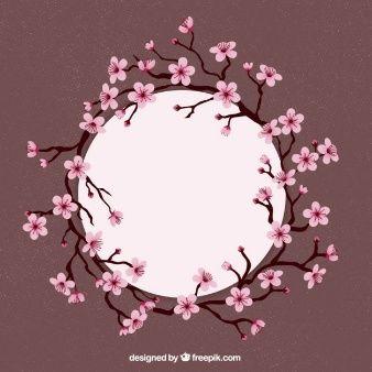 Círculo quadro com flores de cerejeira