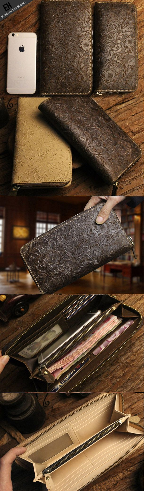 Handmade long leather wallet floral leather clutch wallet for women men
