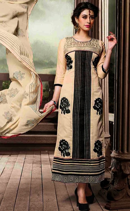 USD 26.17 Beige Chanderi Silk Churidar Suit 50689