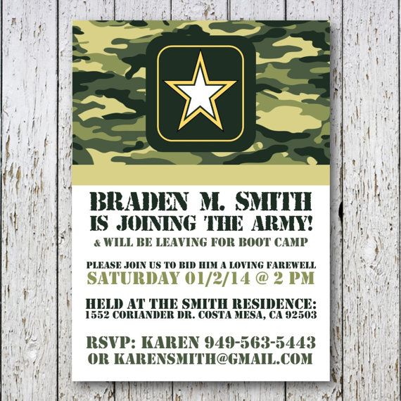 Army Going Away Party Invitation By Simpledevinedesign On Etsy
