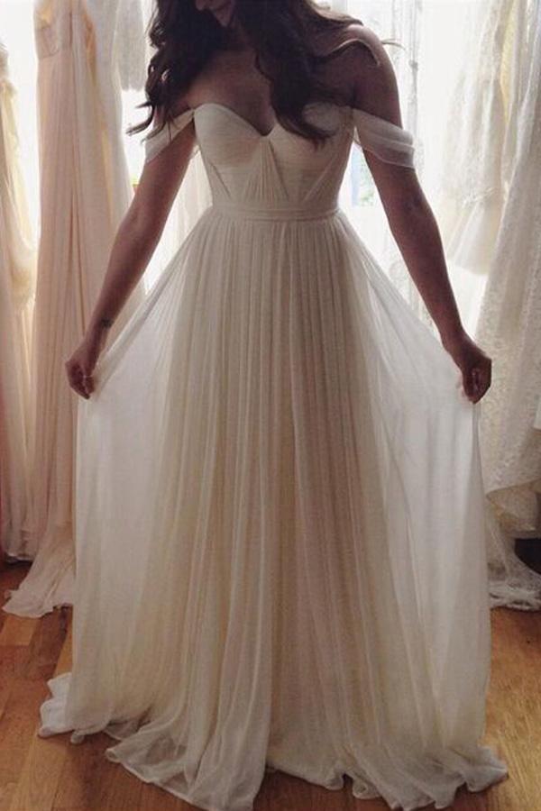 Chiffon White Off shoulder Beach Wedding Dress, Cheap Long prom dresses,PW116