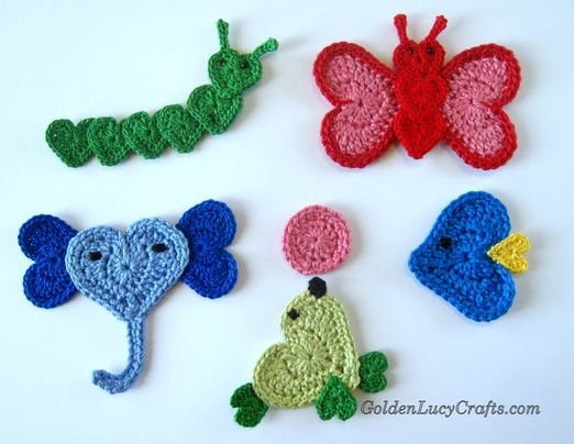 Crochet appliques heart animals free pattern