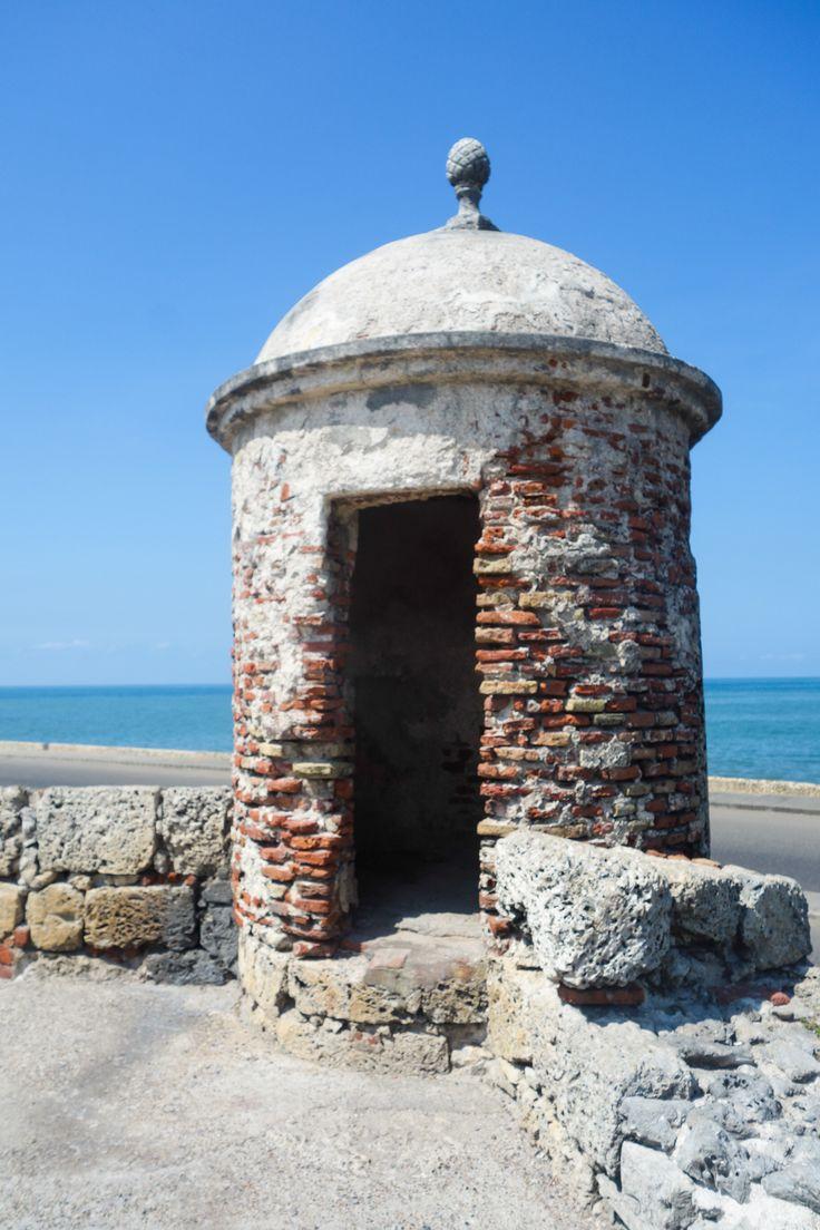 Une tourelle de la citadelle de Carthagène des Indes en Colombie.