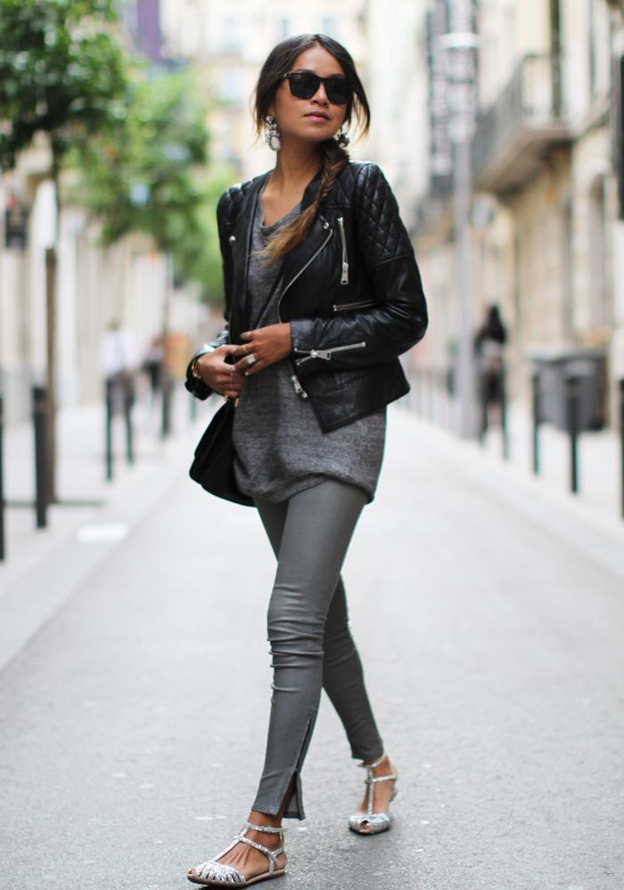J Brand leather skinnys / anine bing leather jacket/zara flats