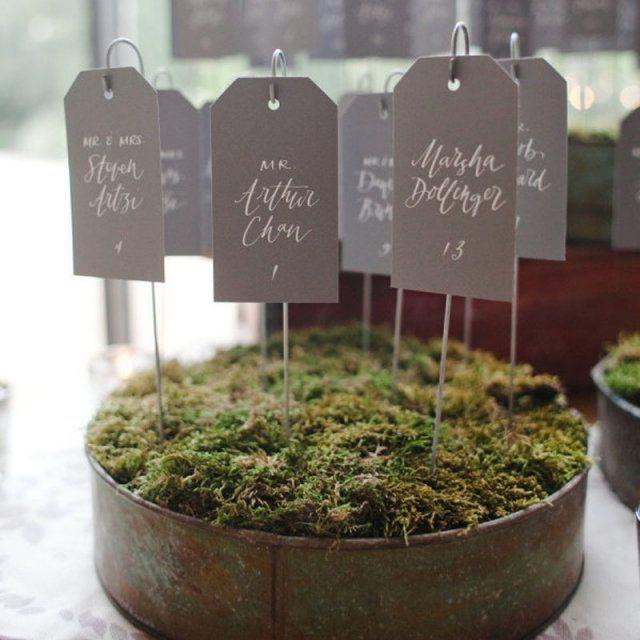 Un plan de table dans des pots à fleurs - DIY ideas for seating plans