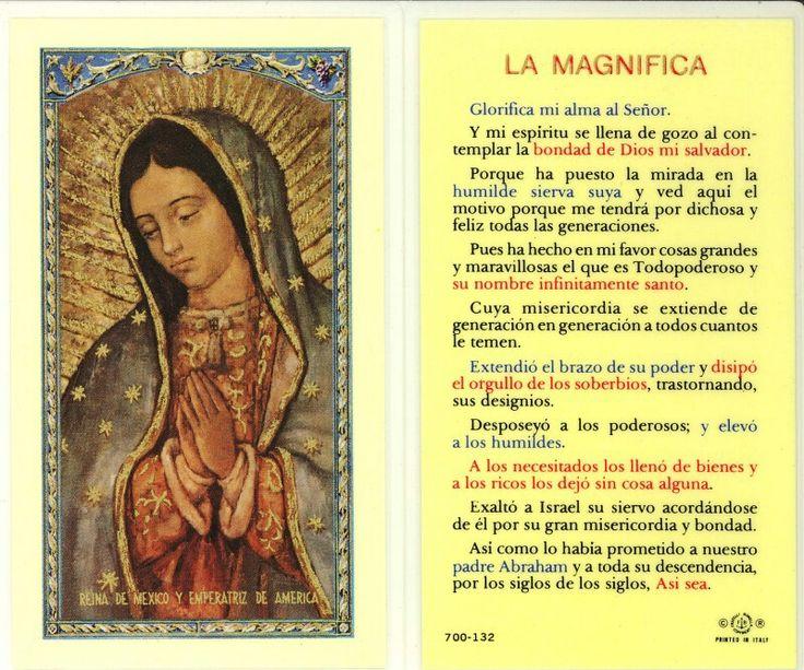 Oracion a La Magnifica.  Esta oracion es hermosa.