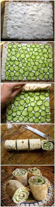 3 ingredient, quick and tasty Cucumber and Cream Cheese Sandwich Rolls.