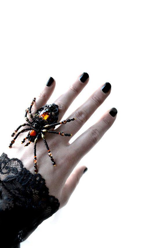 Impressive large Spider ring Gothic adjustable spider jewelry black orange Unique designer jewelry perfect gift for dramatic woman