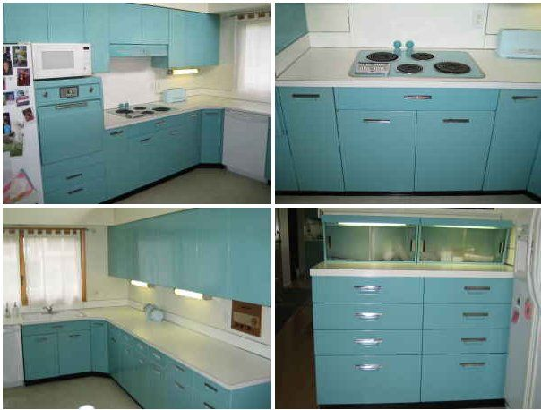 Aqua GE Metal Kitchen Cabinets For Sale On The Forum Michigan Mid Century