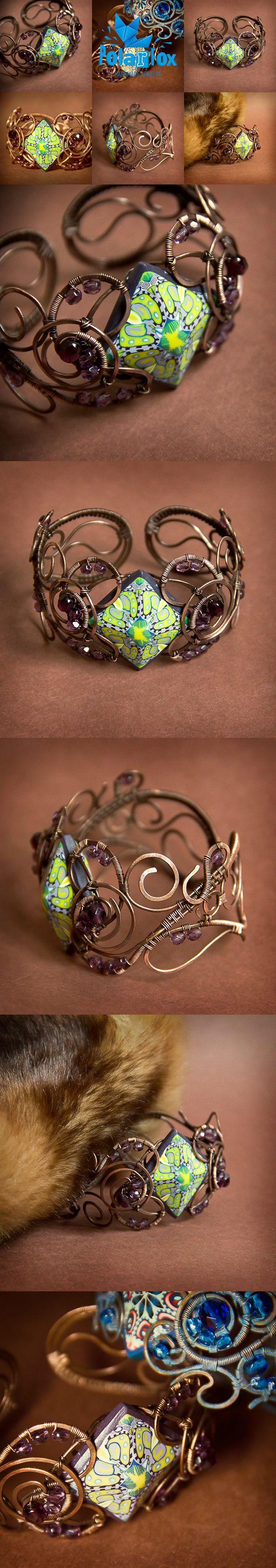 polymerclay, fimo, beads, kaleidoscope, cane, wirewrap, green, bracelet, handmade, jewelry, hobby, polarfoxcraft