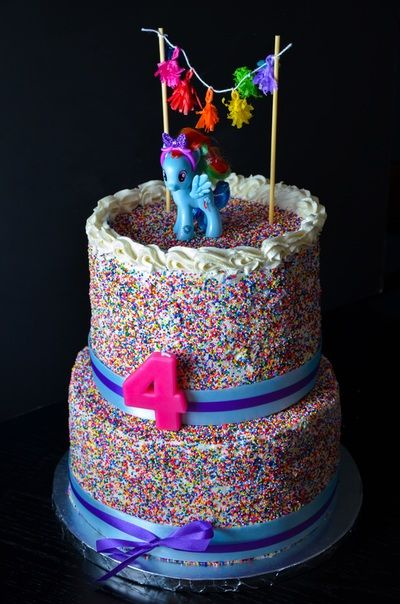 Rainbow Dash Two-Tier Cake with Chocolate Fudget Cake, Vanilla Buttercream, and Rainbow Sprinkles // Custom Cakes, Cupcakes & Cookies // COCOHAUS {Kitchen}
