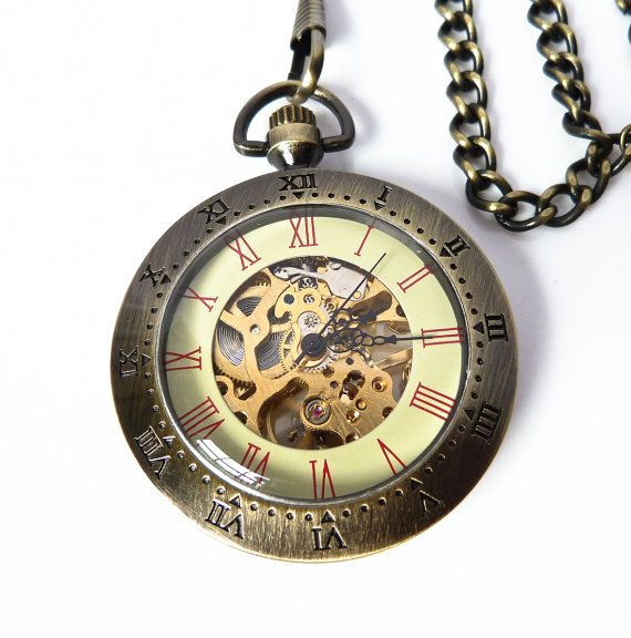 Steam Punk Pocket Watch - Time Meter - Skeleton Pocket Watch on a Pocket Watch Chain #FABjewelry #Jewelry #Accessories