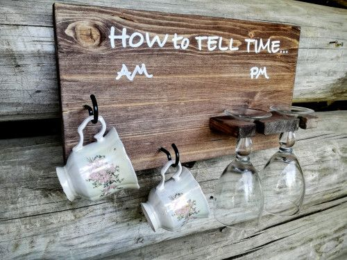 How To Tell Time Rustic Wood Sign - AM coffee, PM wine - made by Laurnikashop