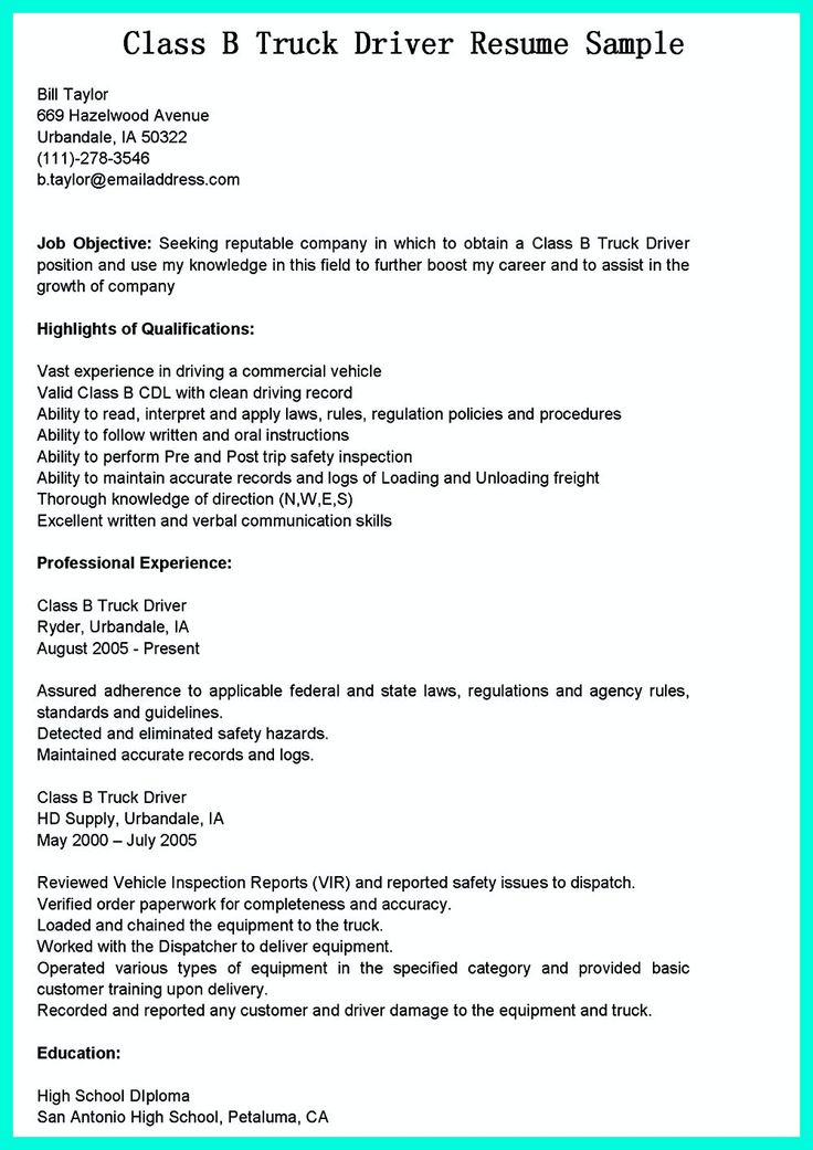 14 best Resume Help images on Pinterest Resume help, Resume - cdl truck driver resume