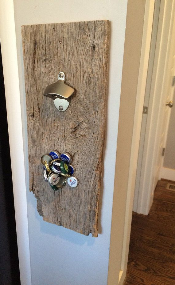 This stylish Reclaimed wall mounted magnetic bottle opener will look great in your Kitchen or Bar. Strong hidden magnets catch falling