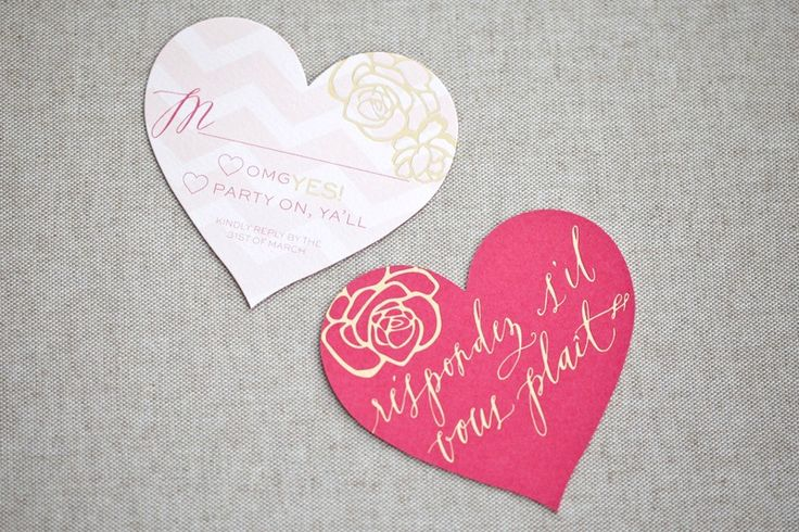 Die cut rsvp cards - part of Pink + Gold Foil Heart Wedding Invitations by August Blume via Oh So Beautiful Paper