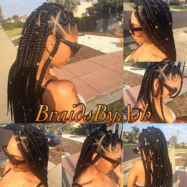 Braids of the day ❤️ I really do this - Jumbo box braids for my honey @fineassfrankie  #BraidsByAsh #LAHairstylist