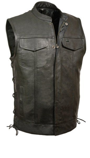 Club Vest Buffalo Leather Motorcycle Zip Snap Concealed Side Laces