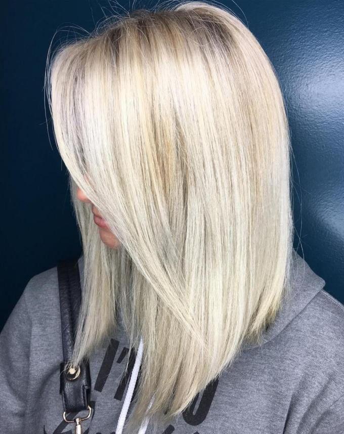 Long Platinum Blonde Bob