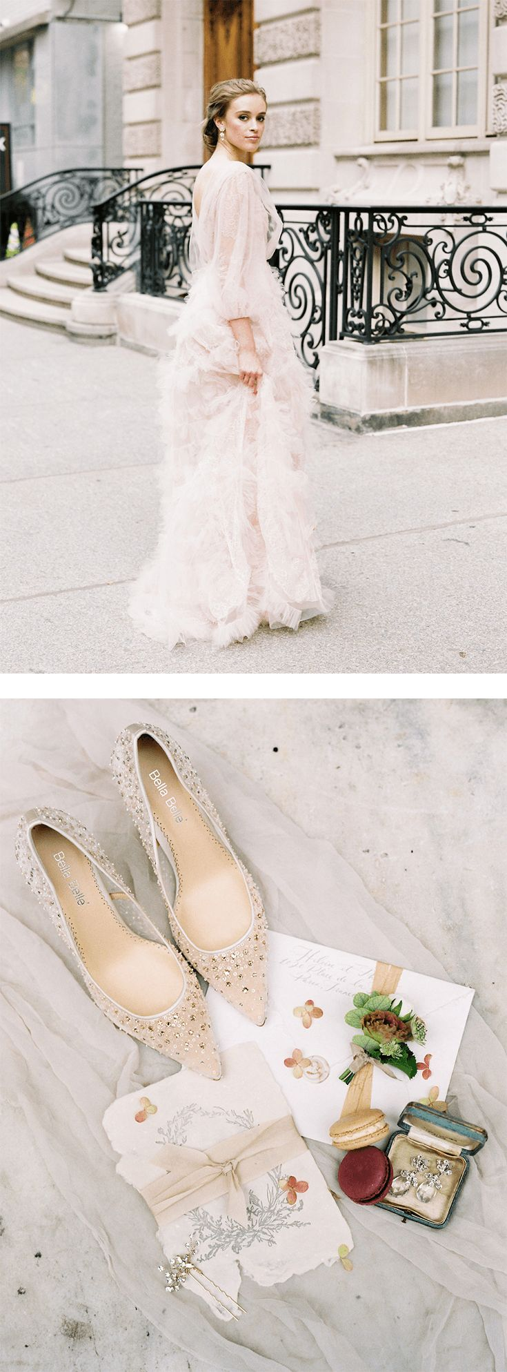 Soft blush ruffled tulle long sleeve Marchesa wedding dress with Bella Belle Elsa Nude sequin sparkly crystal wedding shoe for brides who are romantic, elegant, timeless, feminine, and looking for something different. Closed toe, comfortable, beaded, this wedding heel is the perfect wedding accessory for all brides. Photography by Sophie Kay